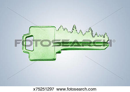 Picture of A key with a tree line for teeth. x75251297.