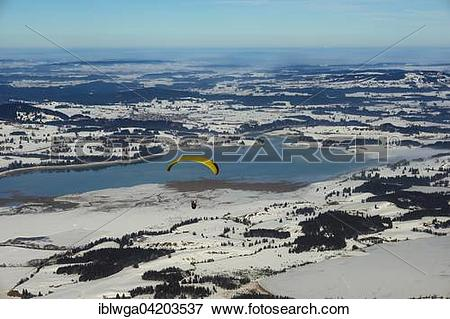 Picture of View from Tegelberg mountain range, paraglider.