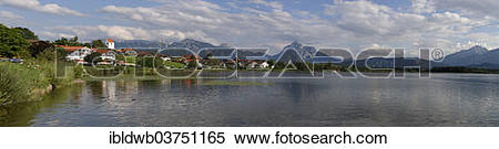 """Stock Image of """"Hopfen am See, behind Hochplatte, Tegelberg and."""