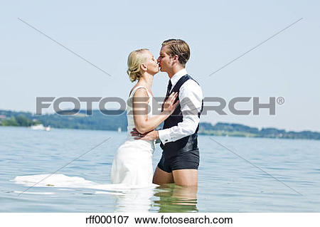 Picture of Germany, Bavaria, Tegernsee, Wedding couple standing in.