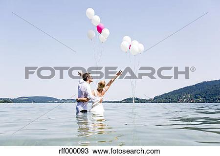 Stock Photo of Germany, Bavaria, Tegernsee, Wedding couple.
