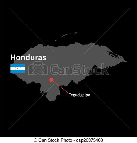 Clip Art Vector of Detailed map of Honduras and capital city.