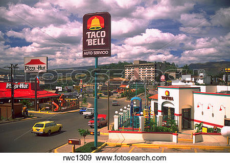 Stock Photograph of Taco Bell and Pizza Hut fast food restaurants.