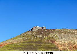 Stock Photography of Santa Barbara Castle on the Guanapay mountain.