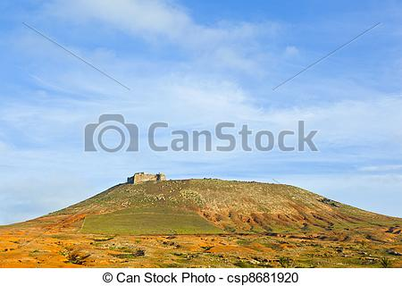 Stock Photography of Santa Barbara of Guanapay Castle at Teguise.