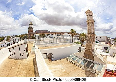Pictures of Teguise, Lanzarote, Canary Island, view over historic.
