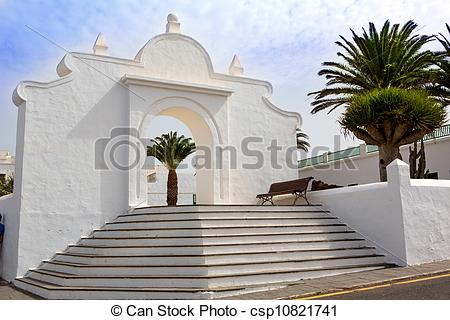 Stock Photo of Lanzarote Teguise white village in Canary Islands.