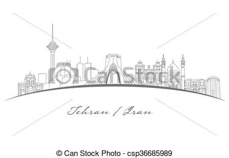Vector of Tehran Famous Landmarks Panorama, Hand Drawn Outline.