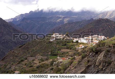 Stock Photo of remote cliffs gran canaria in town tejeda white.