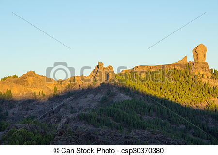 Pictures of Gran Canaria, Caldera de Tejeda, sunrise over Roque.