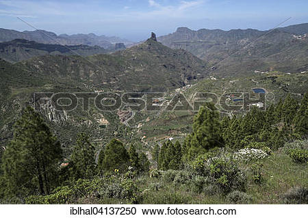 Stock Photography of View from Cruz de Tejeda to the mountains, to.