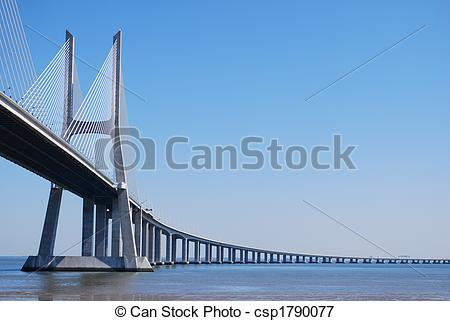 Picture of \'Vasco da Gama\' Bridge over River \'Tejo\' in Lisbon.