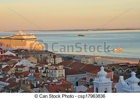Stock Photos of Sunset on river Tejo (Lisbon, Portugal.