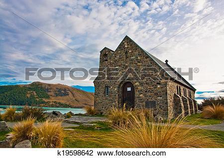 Stock Photo of Church of the Good Shepherd, Lake Tekapo, New.