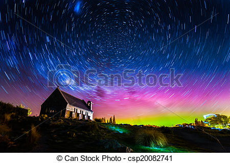Stock Photo of Star trails and Aurora light at Church of the Good.