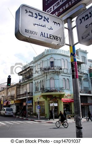 Stock Photos of Allenby Street in Tel Aviv, Israel.