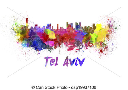 Stock Illustration of Tel Aviv skyline in watercolor splatters.