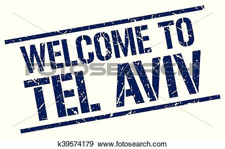 Clip Art of welcome to Tel Aviv stamp k39574179.