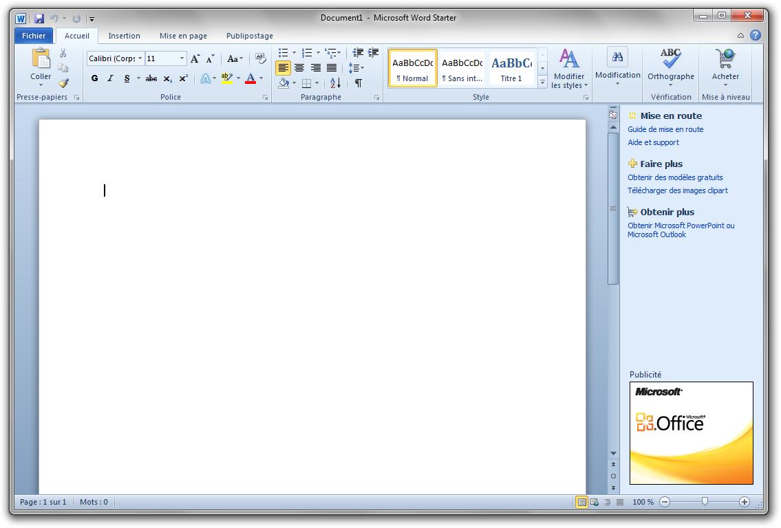 Microsoft Office Starter 2010 : en téléchargement et transportable.