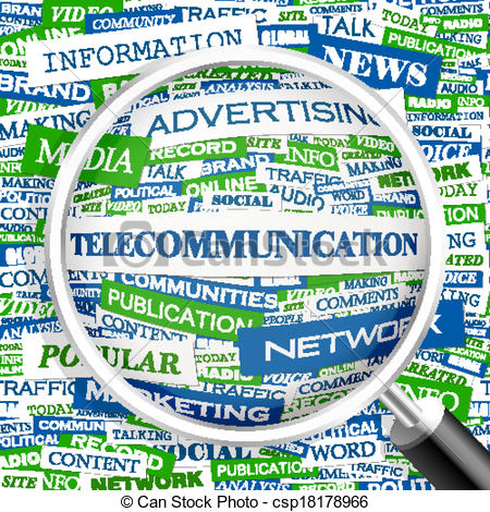 Clip Art Vector of TELECOMMUNICATION. Word cloud illustration. Tag.