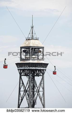 "Stock Photograph of ""Teleferic cableway, Teleferic de Montjuic."