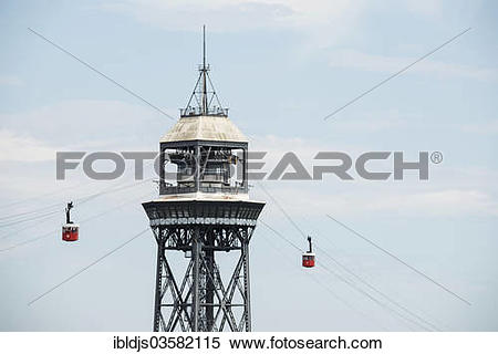 "Stock Image of ""Teleferic cableway, Teleferic de Montjuic, with."