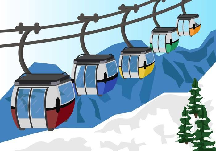 Cable Car In Snow Mountain Vector.