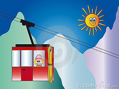 Cable Car And Sun Stock Photo.