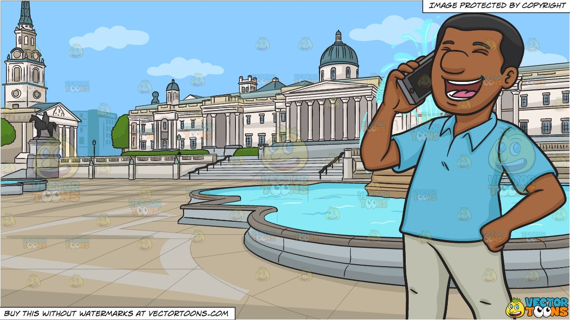A Black Man Laughs While Calling Someone On His Phone and The Trafalgar  Square And The National Gallery Of London Background.