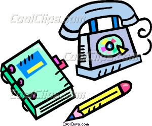 phone book with telephone and Vector Clip art.