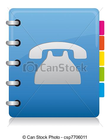 Clipart of Phonebook blue spiral with colored labels, blue, pink.