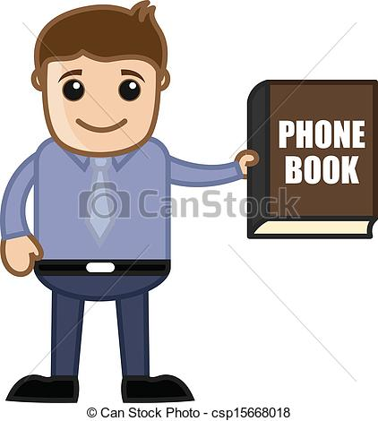 Vector Clip Art of Man Showing Phone Book Directory.
