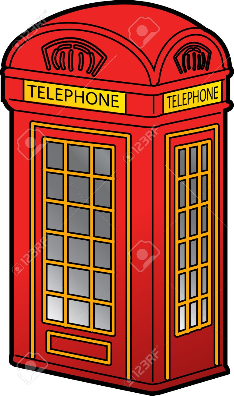 Classic Red British Phone Booth Royalty Free Cliparts, Vectors.