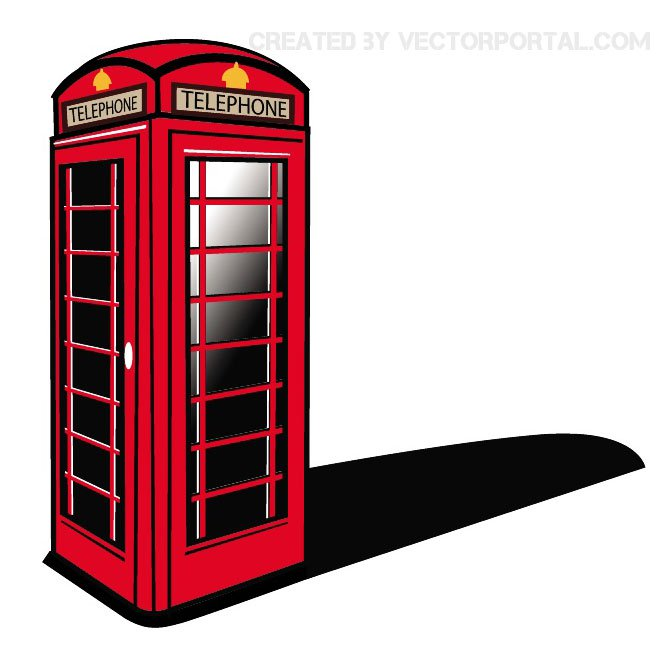 London Phone Booth Clip Art Free Vector.