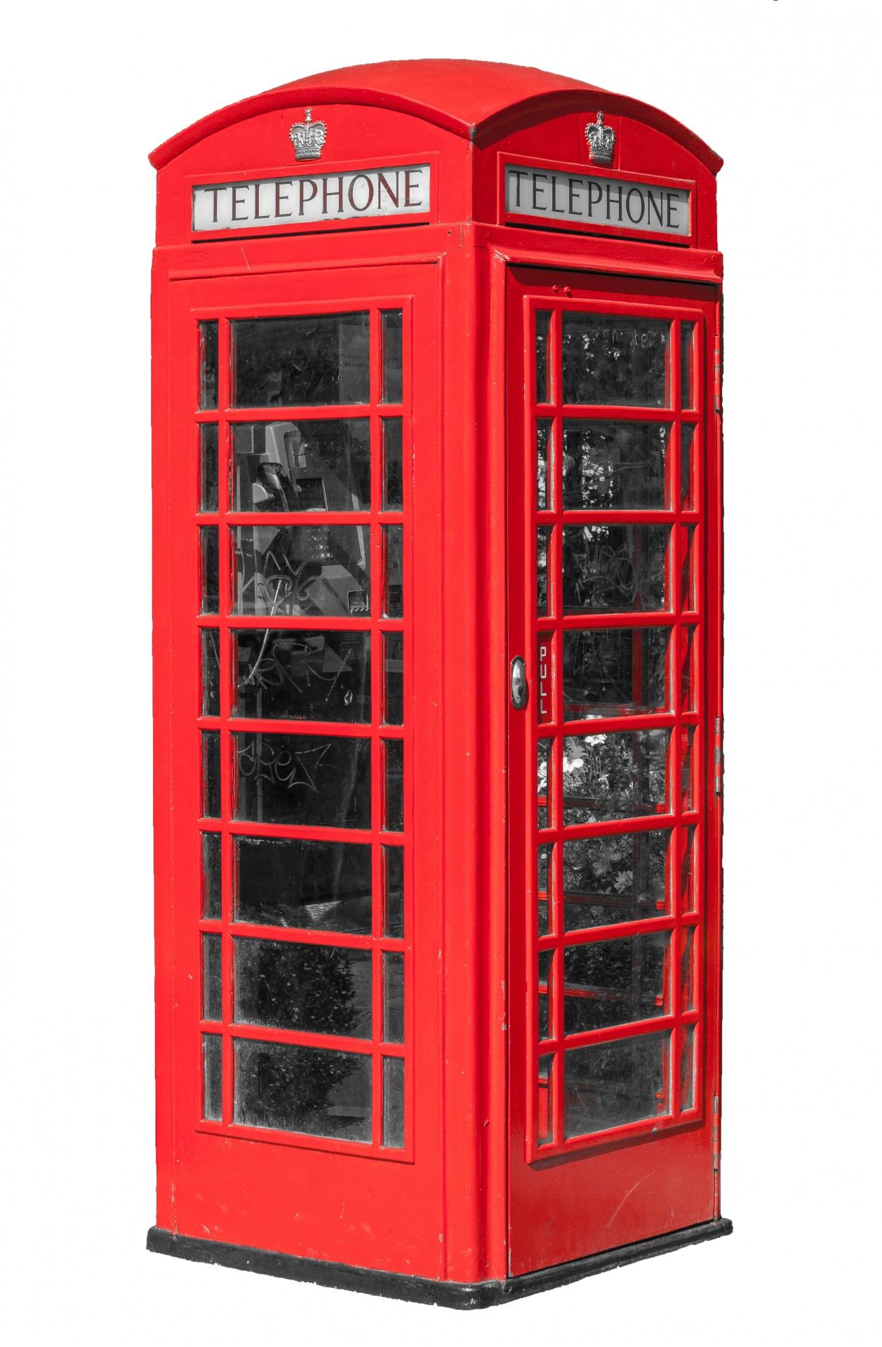 Telephone Box Red Free Stock Photo.