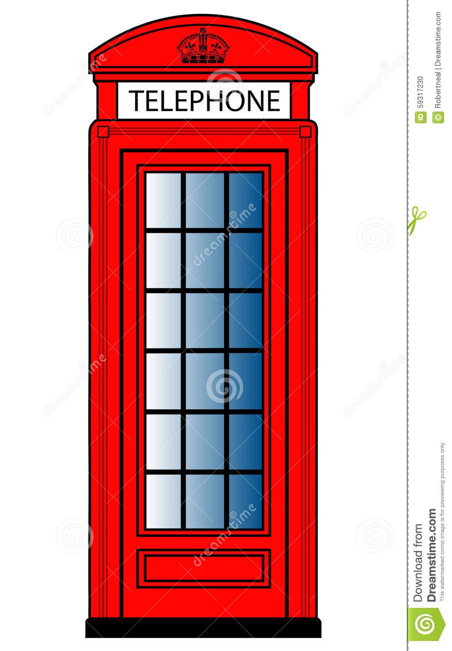 Red Telephone Box Stock Vector.