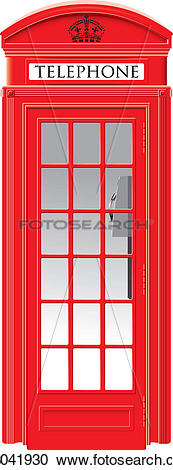 Clipart of Red Telephone Box.
