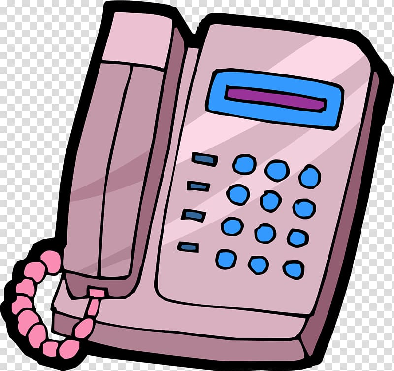 Telephone Cartoon, Pink phone transparent background PNG.