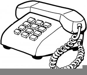 Black White Telephone Clipart.