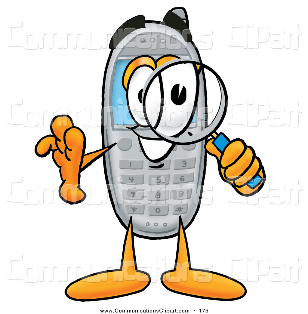 Communication Clipart of a Cheerful Wireless Cellular Telephone.
