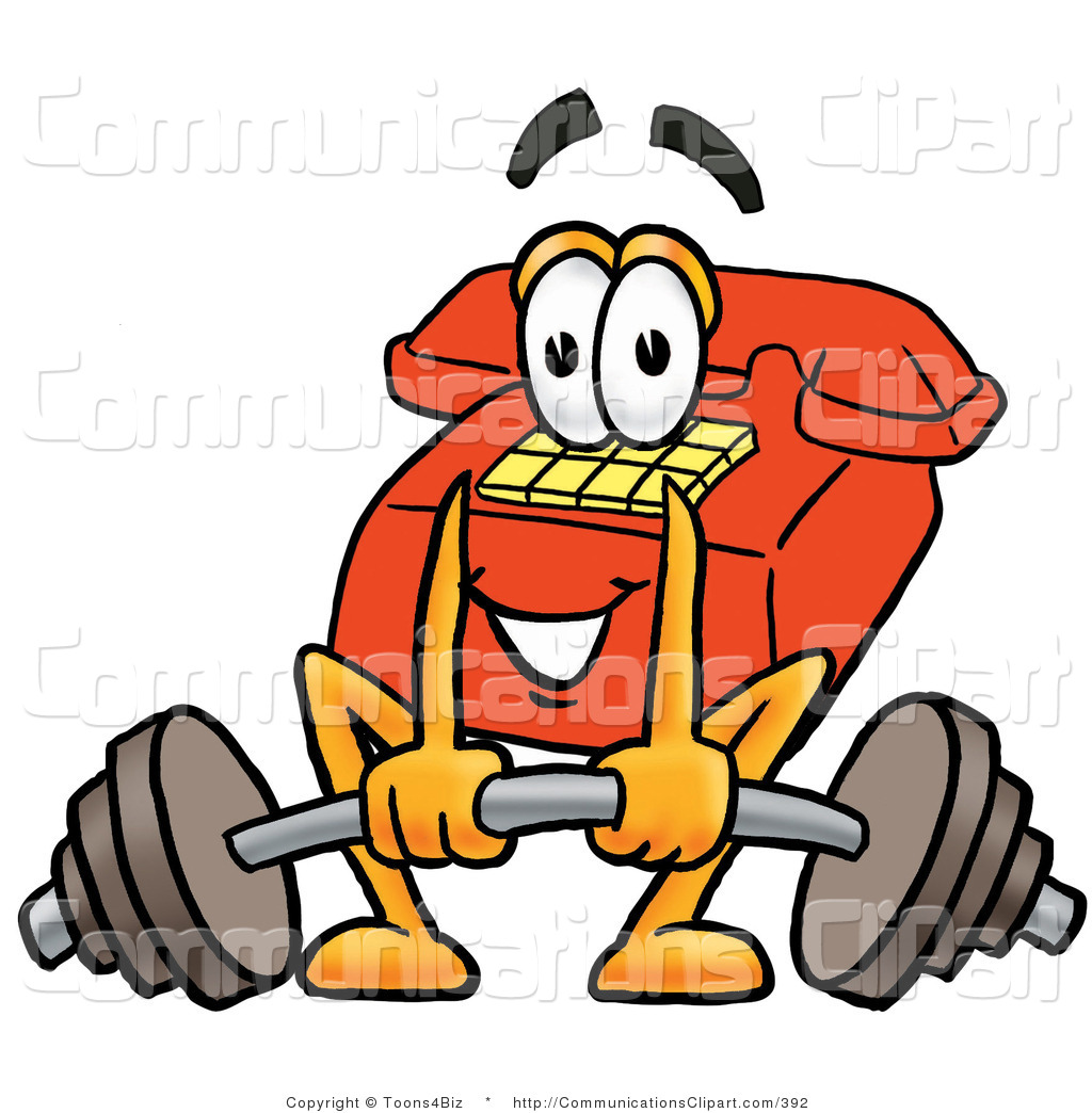 Communication Clipart of a Friendly Red Telephone Mascot Cartoon.