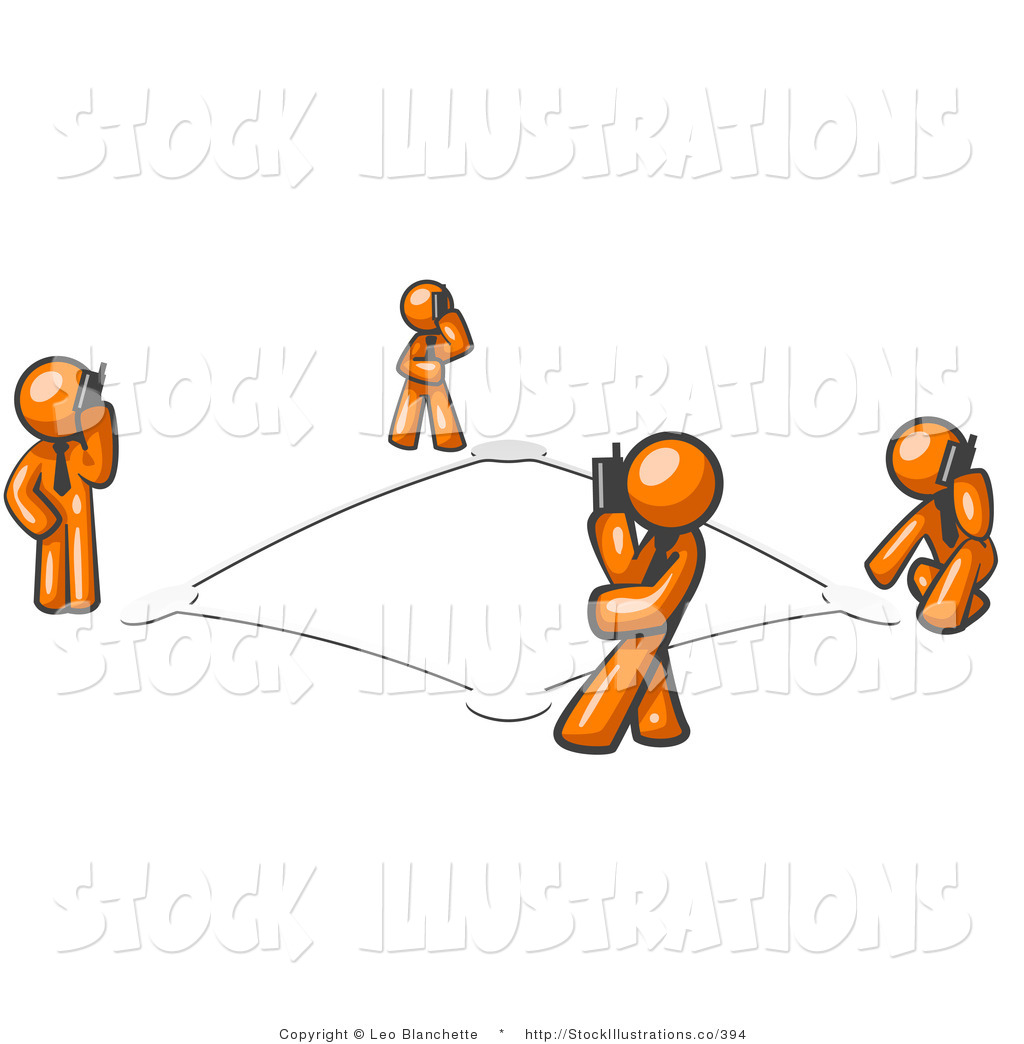 Vector Illustration of a Wireless Telephone Communication Network.
