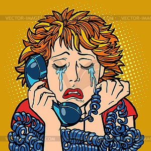 Woman crying human emotions. telephone conversation.