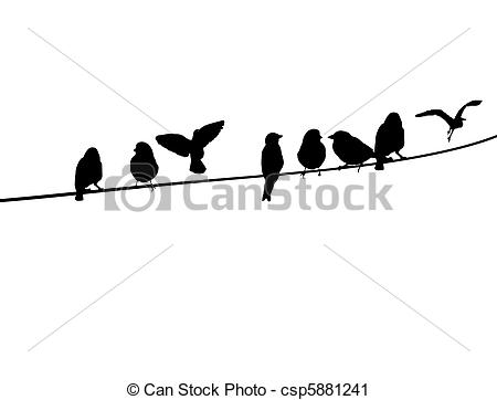 Vector Clip Art of Birds on a telephone wire.