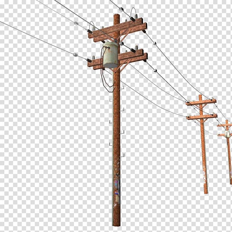 Brown utility pole illustration, Utility pole Overhead power.