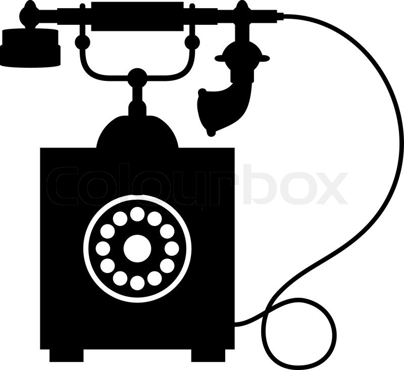 Black and white silhouette of an old vintage telephone with a.