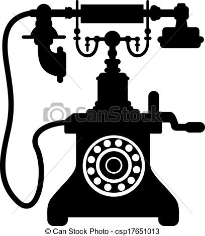 Vector Clip Art of Old vintage telephone.