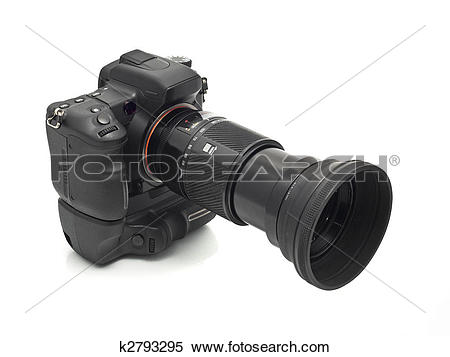 Stock Image of Professional DSLR camera with telephoto lens.