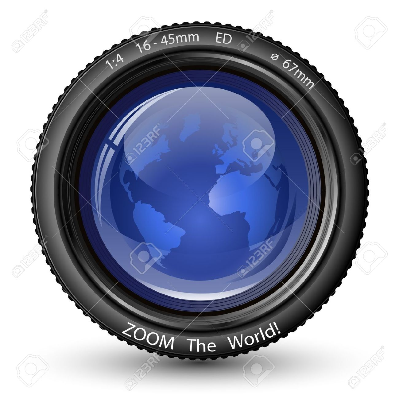 Zoom The World! Vector Illustration Of Camera Lens With Globe.
