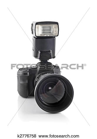 Pictures of Professional DSLR camera with telephoto lens and flash.